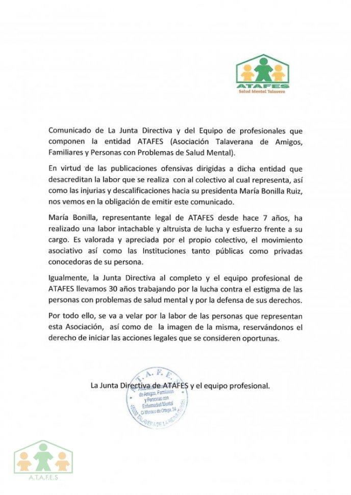 COMUNICADO DE ATAFES