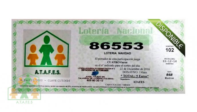 Disponible la Loteria de Navidad de ATAFES - Número 86553